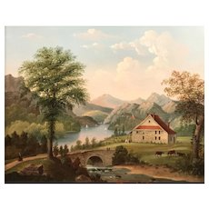 19th c American School Oil Painting of George Washington's Headquarters, Newburgh,NY