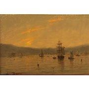William R. Davis Marine Oil Painting - Harbor at Sunset