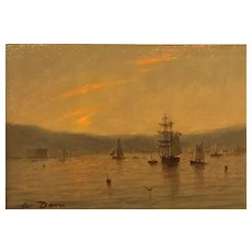 William R. Davis Marine Oil Painting - Harbor at Sunset