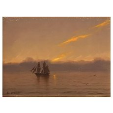 William R. Davis Marine Oil Painting - Brig at Sunset