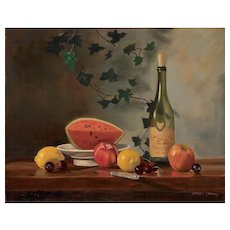 Sydney Thomas Oil Painting - Still Life with Melon and White Wine