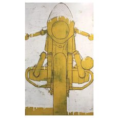 Christopher Myott Modernist Motorcycle Oil Painting - Motorcycle 4