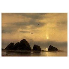 William R. Davis Coastal Seascape - Oil Sketch of Rocks by the Shore