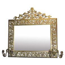 Aesthetic Brass Reticulated Mirror with Crest and Candle Arms