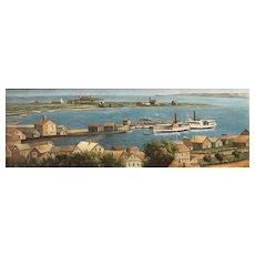 19th c American School Oil Painting of Nantucket, MA  Harbor & Hotel