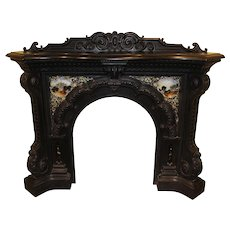 Exceptional HIram Tucker Boston MA Cast Iron Fireplace Mantel with Eglomise