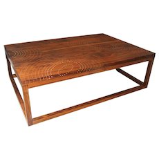 Peter Sandback Modernist Low Rectangle Nail Table in Walnut