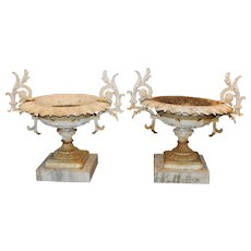 Pair of J.W. Fiske NY Signed Victorian Iron Urns on Marble Bases circa 1874