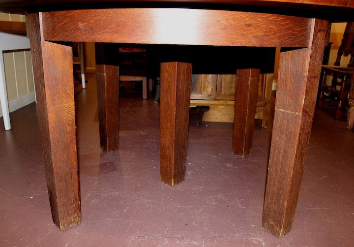 Signed Gustav Stickley Oak Arts U0026 Crafts Dining Table With 3 Leaves Circa  1915 1916