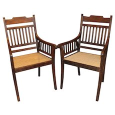 Pair of Regency Style Anglo-Indian Colonial Style Armchairs
