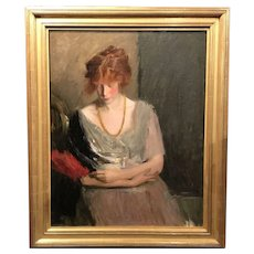 Louise Williams Jackson Oil Painting Portrait of a Red Haired Model