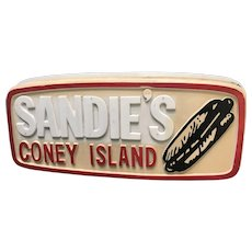 Sandie's Coney Island Hot Dogs Molded Plastic Advertising Sign 1960's-70's