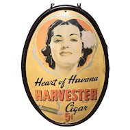 Heart of Havana Harvester Tin Advertising Oval Sign circa 1930