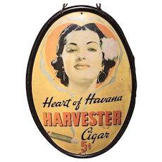 Heart of Havana Harvester Tin Advertising Oval Sign circa 1930