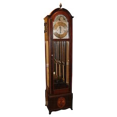 Jacques Mahogany and Glass Six Chime Tall Clock with Moon Phase, circa 1920