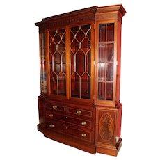 Georgian Style Mahogany Tall Proportion Breakfront Bookcase / China Cabinet