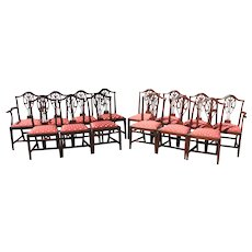 Set of 14 Hepplewhite Style Foliate Carved Upholstered Mahogany Dining Chairs