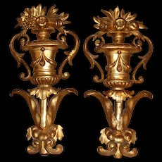 Pair of Continental Wooden Gilt Urn Wall Decorations or Architectural Elements