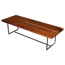 Peter Sandback Modernist Low Rectangle Nail Table in Walnut and Steel