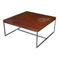 Peter Sandback Modernist Low Square Inlaid Nail Table in Walnut and Steel