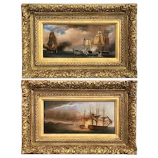 Pair of 19th Century Marine Oil Paintings with Ship Battle Scenes