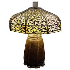 Handel Signed Arts & Crafts Slag Glass Table Lamp with Bamboo Leaf Overlay