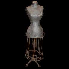 19th c Papier Mache  Dress Form with Wire & Iron Base