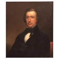 American School Oil Painting Portrait of Uncle Ira Wadleigh, Candia NH circa 1868