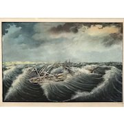 19th c Giovanni Luzro Watercolor Painting Bark Hornet in a Squall, October 1869