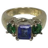 14K Gold Tanzanite & Tsavorite Ladies Ring