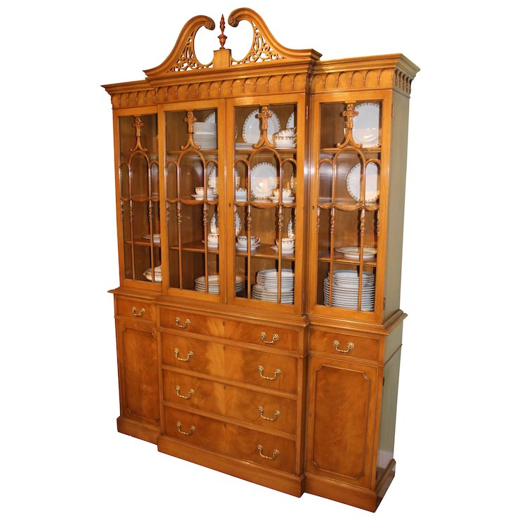 Two Piece Mid Century Custom Mahogany Breakfront China Cabinet Or Cupboard