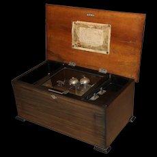 Swiss Cylinder Music Box with Three Bells circa 1890's