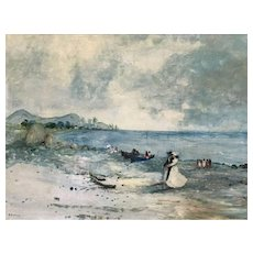 Stefanos Sideris Large Impressionist Oil Painting of a Beach Scene with Figures
