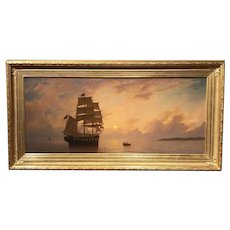 William R. Davis Exceptional Luminist Marine Oil Painting, Sunset Rendezvous