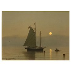 William R. Davis Luminist Marine Oil Painting, Misty Morning