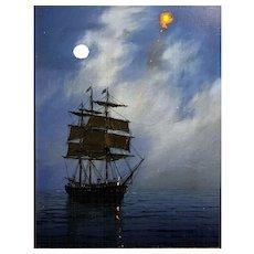 William R. Davis Luminist Marine Oil Painting, The Red Flare
