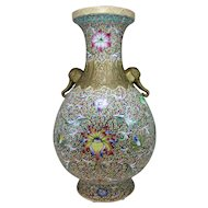 Large Chinese Baluster Form Polychrome Porcelain Vase with Elephant Handles