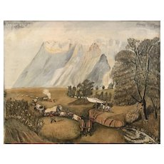 Henry Rogers Folk Art Oil Painting of Cowboys Heading West 1936