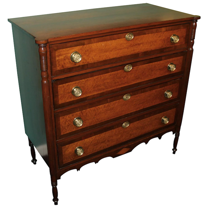 64e0aecfd343 Cherry Hepplewhite Chest with Solid Birdseye Maple Drawer Fronts circa   New  Hampshire Antique Co-op