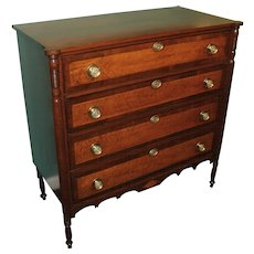 Cherry Hepplewhite Chest with Solid Birdseye Maple Drawer Fronts circa 1810-1830