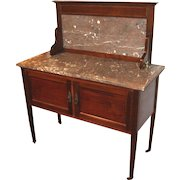19th c English Marble Top Two Part Mixing Table