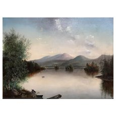 Hudson River School Landscape Painting, Lake George, NY, 1873
