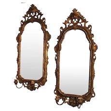 Pair of 19th Century Italian Rococo Gilt Mirrored Sconces