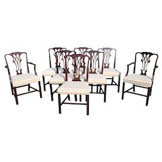 Set of 8 Mahogany Chippendale Style Upholstered Dining Chairs