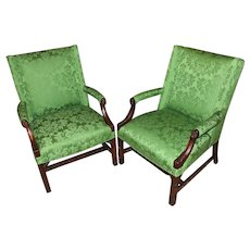 Pair of Chinese Chippendale Style Upholstered Mahogany Marlborough Armchairs