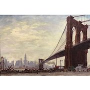 Signed Oil Painting Cityscape of the Brooklyn Bridge & Manhattan, 1929