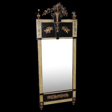 19th c Style Continental Gilt Pier Mirror with Flower Basket Crest & Faux Marbleized  Pilasters
