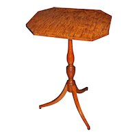 18th c English Satinwood Tripod Stand or Candle Stand with Tiger Maple Top