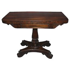 19th c English Rosewood Gaming Table with Elegantly Carved Base