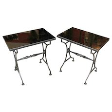 Pair of Classic Regency Style Glass Top Garden or Side Tables in Black Iron